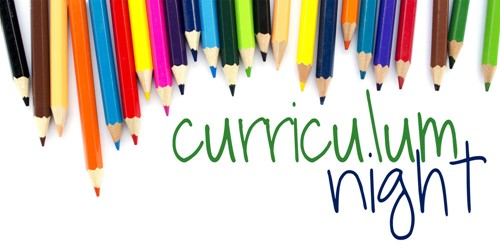"bunch of colored pencils and words ""curriculum night"""