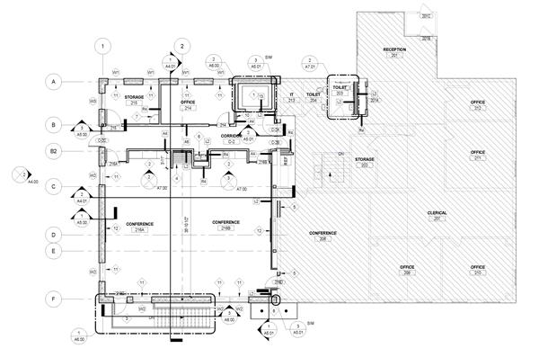blueprint drawing of second floor plan for addition