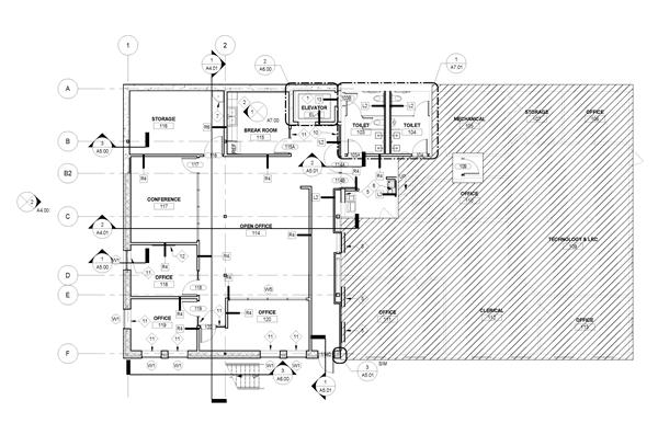 Blueprint drawing of first floor plan for addition