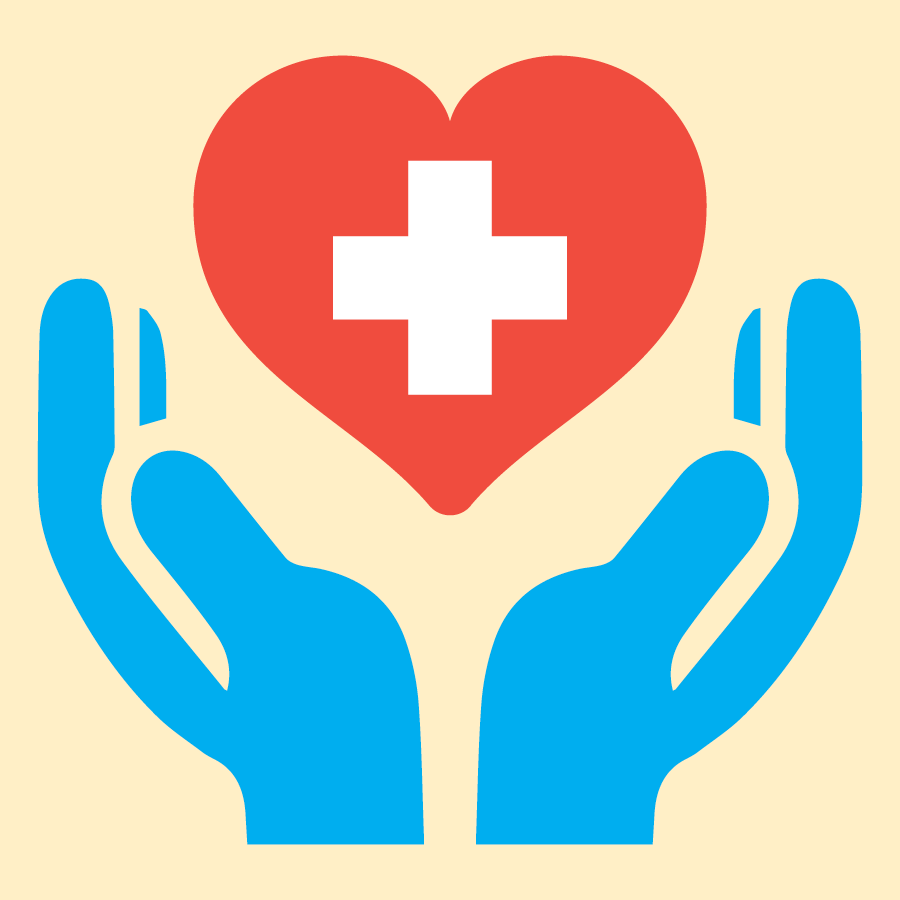 hands holding heart with medical symbol