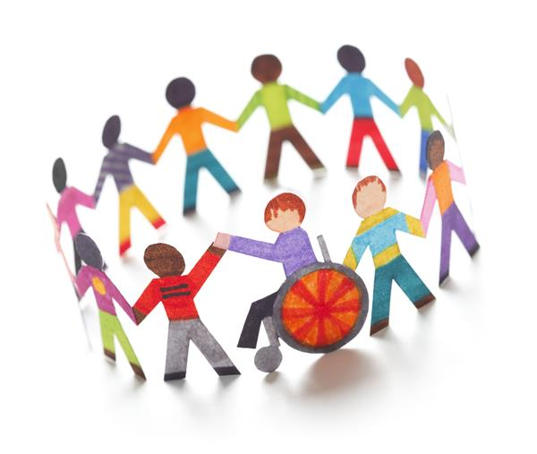 inclusion, diverse students standing in circle