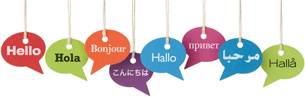 Speech bubbles with hello in different languages